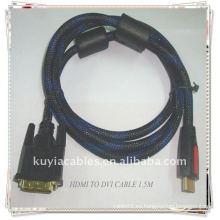 De alta calidad de oro plateado HDMI a DVI cable con chaqueta de malla de nylon 2 Ferrit 1,5 m negro
