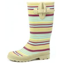 Women Colored Stripes Wellington Rubber Boots