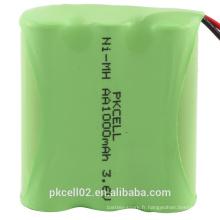 Paquet de batterie de Pkcell 3.6V 1000mAh NI-MH