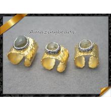 Nature Druzy Geode Anneau de pierre gemme en cristal de quartz, tonneau doré Bague en pierre aux doigts au Labradorite dans les résultats de bijoux en couleur mixte (FR014)