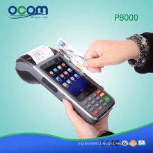 P8000 4'touch screen protable pos terminal android pos pda device with printer