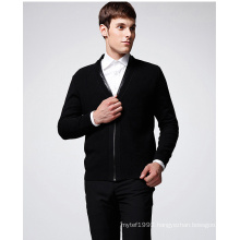 ODM Pure Colour Leather Neck Man Cardigan with Zip