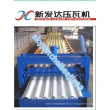 Folha de telha de ferro corrugado rolo formando fazendo máquina feita na China
