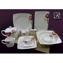 P&T porcelain square shape dinnerware flower design porcelain dinnerware