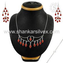 Gracieux bijoux en argent de pierres précieuses en corail rouge ensemble 925 bijoux en argent sterling bijoux en gros