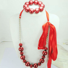 Red Ribbon Pearl Necklace and Bracelet Set