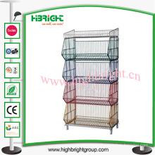 Supermarket Collapsible Stacking Basket Stand