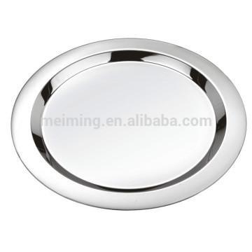 Placa de almuerzo redonda de acero inoxidable de 16 pulgadas