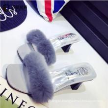 New design sandals soft fur slippers womens sandals