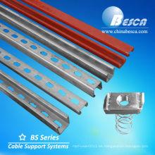 Canales de acero con tuerca de resorte (UL, cUL, NEMA, IEC, CE, ISO)