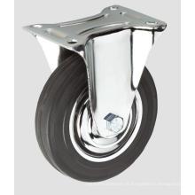 Roda lisa industrial da borracha do rodízio industrial preto sem freio