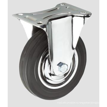Черный Резиновый Промышленный Рицинус Плоской Фиксировать Колеса Без Тормоза