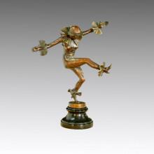 Tänzerin Statue Tanz Tanz Bronze Skulptur, a. Titze TPE-435