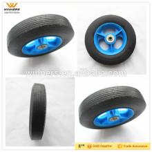 Rodas de trole 8 '', rodas pequenas de borracha maciça de 8 polegadas