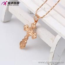 Xuping Rose banhado a ouro cruz pingente de bijuteria em cobre ambiental 32397