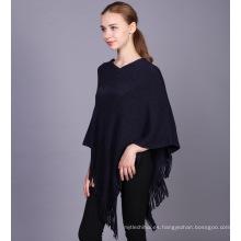 Las señoras 2017 de la moda del suéter de las señoras del invierno llevan el poncho hecho punto algodón