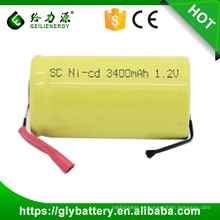 Wholesale Rechargeable NICD SC 3400mAh Battery 1.2V With Tabs