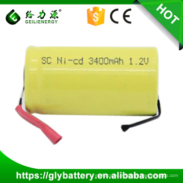 Batterie Rechargeable NICD SC 3400mAh en gros 1.2V avec des onglets