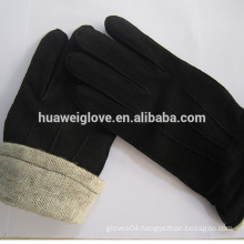 casual style mens black sheepskin suede leather gloves