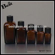 botella de aceite esencial cuadrado con tapa de plástico negro; botella de vidrio de aceite esencial cuadrado marrón; botella de aceite esencial cuadrado cuentagotas