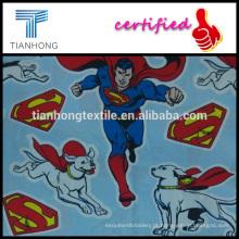 o Super-homem e super doggy logotipo impressão seda de sarja de algodão tocando peso leve fino tecido para roupa de noite