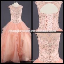 Echte Bilder Perlen Kristall Quinceanera Kleid Rüschen Ballkleid nach Maß
