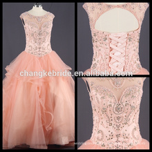 Real Pictures Beaded Crystal Quinceanera Dress Ruffles Ball Gown Custom Made