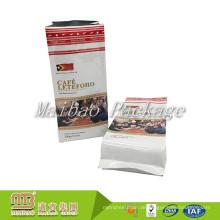 Lebensmittelqualität Benutzerdefinierte Größe Gedruckt Aluminiumfolie Quad-Sealing 250g 340g 500g 1000g Großhandel Seite Zwickel Kaffee Tasche