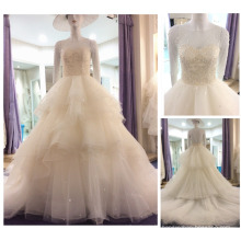 Real Samples Sweetheart Neck Beaded Pearls Layers Transparent Back Ball Gown Long Sleeves Wedding Dress 2016 A205
