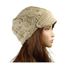 Moda feminina de inverno Knit Visor Beanie Cap