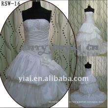 RSW-16 2011 Venta caliente nuevo diseño de las damas de moda elegante personalizado Hermosa inflada vestido de novia de volantes