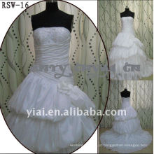 RSW-16 2011 Hot Sell New Design Ladies Fashionable Elegante Customized Beautiful Inflated Ruffle Bridal Dress