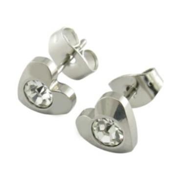 Atacado Moda Design 316L Aço Inoxidável CZ Stud Earrings