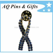Cinta de la conciencia del metal Insignia del Pin con el Pin de la solapa del diamante (badge-026)
