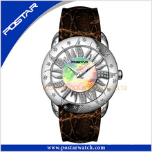 Reloj de cuarzo de Steeel de las señoras de la moda de Sun Flower Fashion con el movimiento suizo