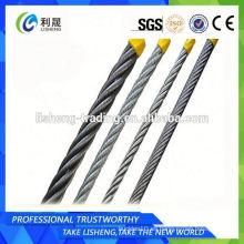 Precio de fábrica 8x19 Ungalvanized cuerda de alambre de acero 9m m