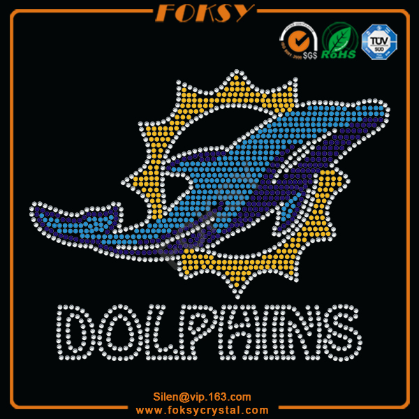 Dolphins Sun iron on bling appliques