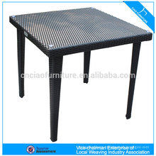 Rattan furniture garden dining table glass on top