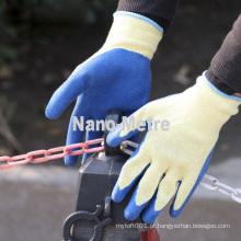 NMSAFETY 10g amarelo polycotton forro revestido rugas luvas de borracha de borracha de látex
