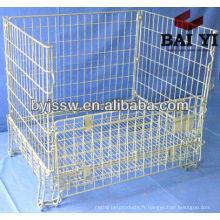 Cage de stockage en acier en métal avec des roues