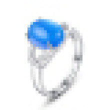 Women′s Fashion 925 Sterling Silver Synthetic Sapphire Opening Ring