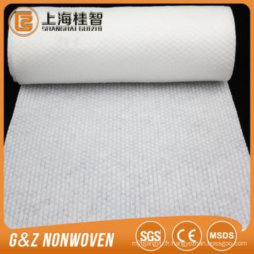 Matériau non-tissé pointillé gaufré de matière première pour lingette humide / tissu