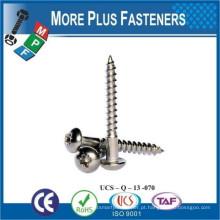 Fabricado em Taiwan DIN 7996 A2 Aço inoxidável Slotted Pozi Round Head Wood Screw