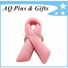 Pin de sensibilisation au ruban rose en PVC souple de haute qualité (Pin-01)
