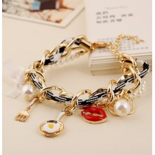 Fashion Sexy Lips Charm bracelet multilayer metal bracelet Jewelry for Women
