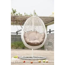 garden indoor rattan egg shaped white swing chair