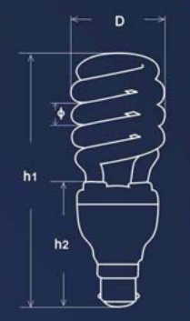 Small spiral energy saver light bulbs