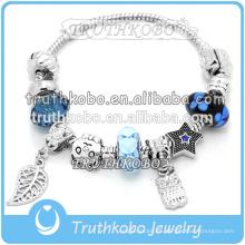 Pulsera de moda con abalorios azules de Murano Fit Pandola Charm Bracelet Wholesale