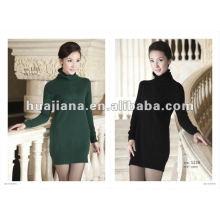 длинные женские платья зима свитер/ 100% кашемировый джемпер