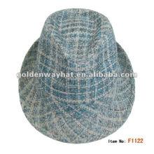 2014 Fashion Mens Checked Papier Trilby Hat fühlte Fedora Hüte für Großhandel